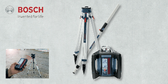 BOSCH ROTATION LASER WITH TRIPOD & CUT & FILL ROD SET GRL500HV