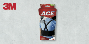 3M ACE SUPPORT ADJUSTABLE BRACES ONE SIZE WORK BELT SUPPORT